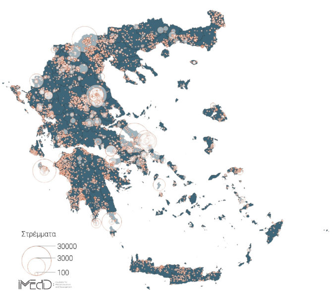 map of greece forest fires