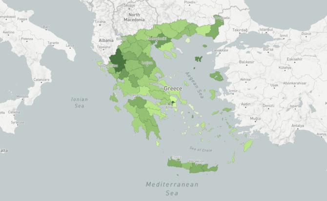 χάρτης με τον εμβολιασμένο πληθυσμό της Ελλάδας