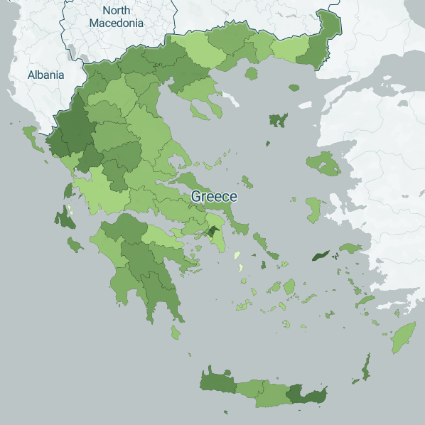 map with vaccinations for covid in greece