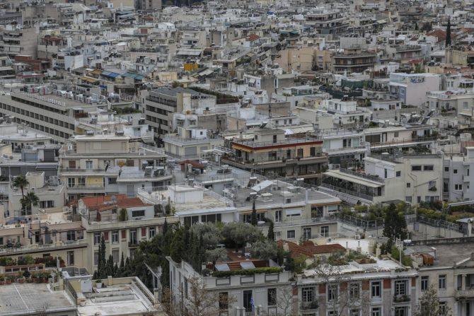 Φωτογραφία με αθηναϊκές πολυκατοικίες