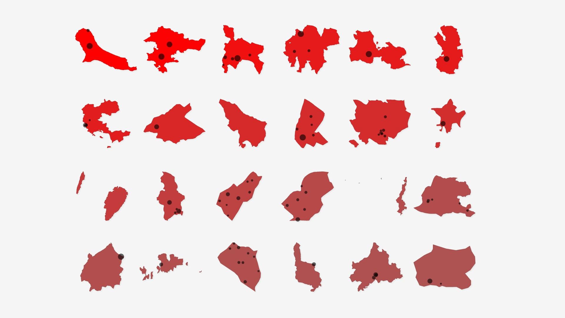 Γράφημα που αποτυπώνει πλειστηριασμούς κατοικιών ανά δήμο